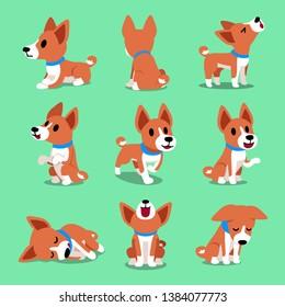 Cartoon character basenji dog poses for design.