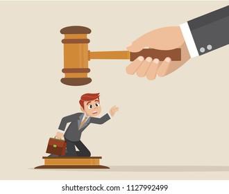 Cartoon character, Big judge banging gavel on small businessman.,vector eps10