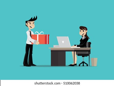 Cartoon character, Birthday Surprise Business woman., vector eps10
