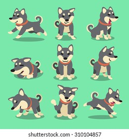 Cartoon character black shiba inu dog poses