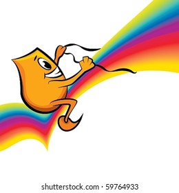 Cartoon character - Blinky - riding rainbow, vector illustration