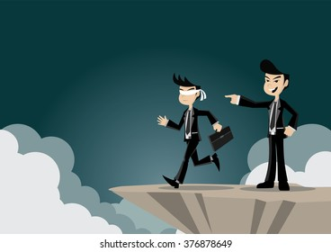 Cartoon character, Boss introduced the business appointments that fall into the cliff., vector eps10