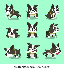 Cartoon character boston terrier dog poses