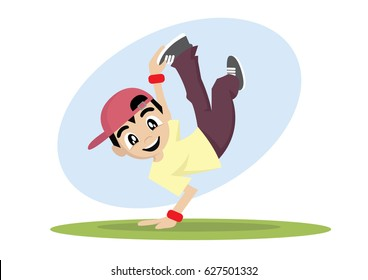 Cartoon character, Boy break dance., vector eps10