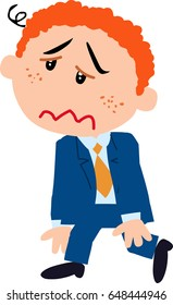 Cartoon character boy dressed like a businessman dizzy; isolated vector illustration.