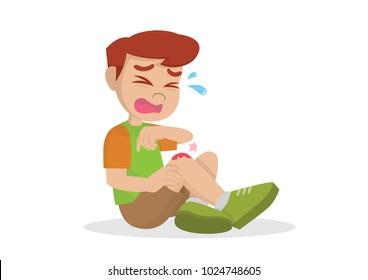 Cartoon character, Boy having bruises on his leg., vector eps10