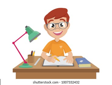 Cartoon character, Boy makes a homework., vector eps10