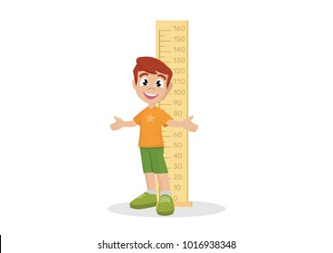 Cartoon character, Boy measuring height., vector eps10