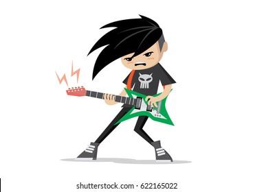 Cartoon character, Boy playing Electric guitars.,vector eps10