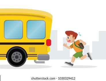 Caricatura, niño corriendo después de un autobús escolar, vector eps10