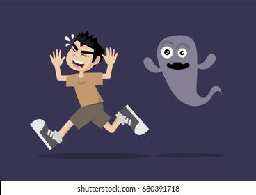 Cartoon character, Boy running away from ghost., vector eps10