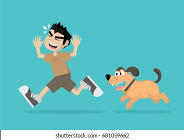 Cartoon character, Boy running away from angry dog., vector eps10
