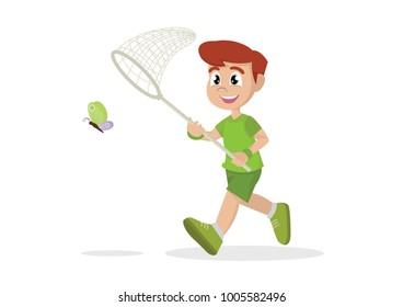 Cartoon character, Boy is running with butterfly., vector eps10