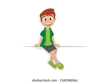Cartoon character, Boy sits on a large white banner., vector eps10