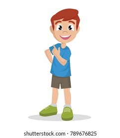 Cartoon character, Boy stands in a confident pose., vector eps10