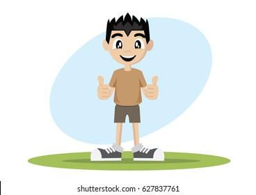 Cartoon character, Boy thumbs up., vector eps10