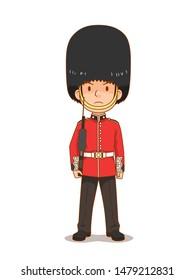 Cartoon character of British Royal Guard in traditional uniform, British soldier.