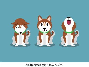 Cartoon character brown siberian husky dog poses for design.