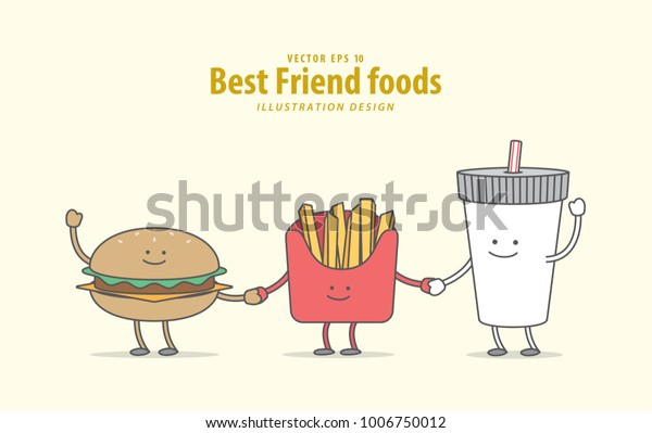 Cartoon Character Burger French Fries Soda Stock Vector