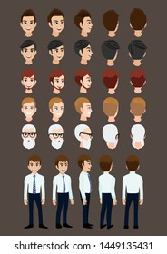 Cartoon character with business man for animation. Front, side, back, 3-4 view character. Set of male head and flat vector illustration.