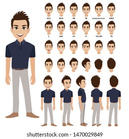 Cartoon character with business man in casual wear for animation. Front, side, back, 3-4 view character. Separate parts of body. Flat vector illustration.