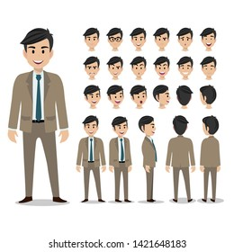 Cartoon character with business man in suit for animation. Man head set, front, side, back, 3-4 view character. Separate parts of body. Flat vector illustration.
