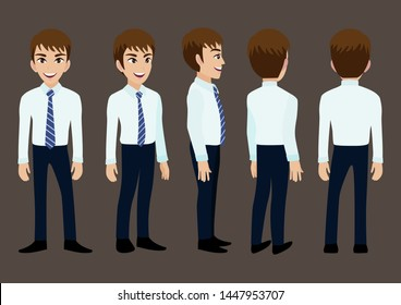 Cartoon character with business man in suit for animation. Front, side, back, 3-4 view character. Set of male head and flat vector illustration.