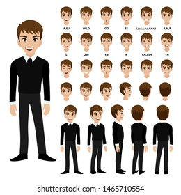 Cartoon character with business man in suit for animation. Front, side, back, 3-4 view character. Separate parts of body. Flat vector illustration.