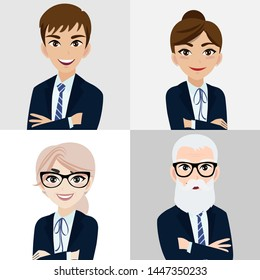 Cartoon character with business man and business woman , teamwork concept design. Flat vector illustration.