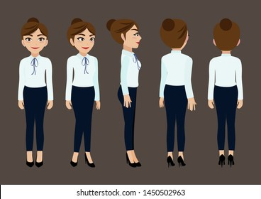 Cartoon character with business woman for animation. Front, side, back, 3-4 view character. Flat vector illustration.