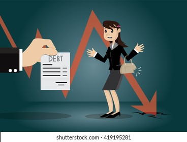 Cartoon character, Business woman, financial failure and must pay debt., vector eps10