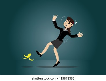 Cartoon character, Business woman slips over banana peel on the floor, vector eps10