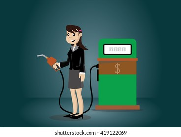 Cartoon character, Business woman standing on a filling station., vector eps10