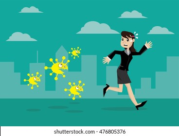 Cartoon character, Business women running away from viruses and contagious diseases., vector eps10