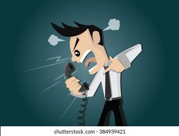 Cartoon character, Businessman Angry on telephone., vector eps10
