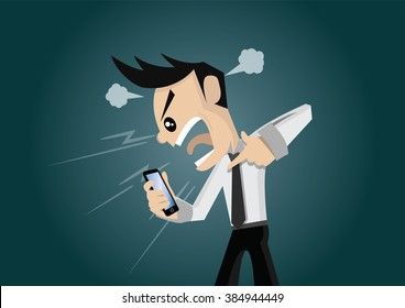 Cartoon character, Businessman Angry on smartphone., vector eps10