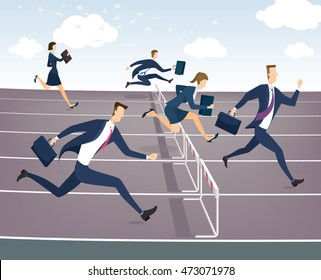 Cartoon character, Businessman and businesswoman jumping over hurdles.
