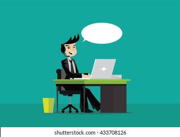 Cartoon character, Businessman Call center., vector eps10