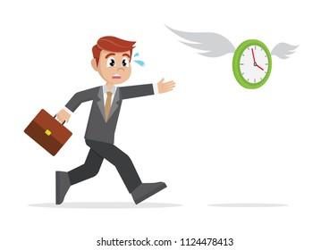Cartoon character, businessman chasing a flying clock.,vector eps10