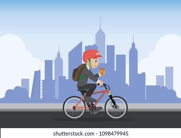 Cartoon character, businessman employee using bike go to work with city background.,vector eps10