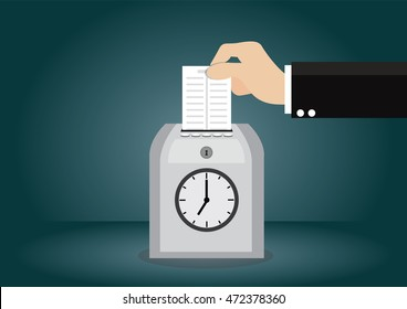 Cartoon character, Businessman hand holding card on time clock recorder., vector eps10