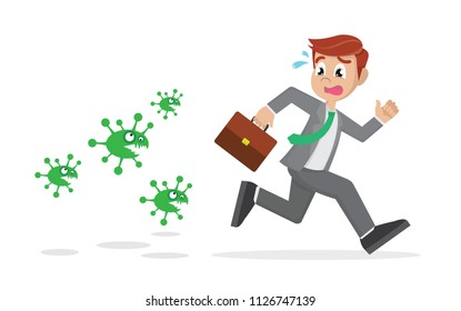 Cartoon character, Businessman running away from viruses and contagious diseases., vector eps10