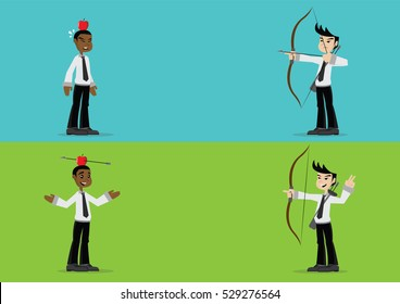 Cartoon character, Businessman shot an arrow at an apple on head., vector eps10