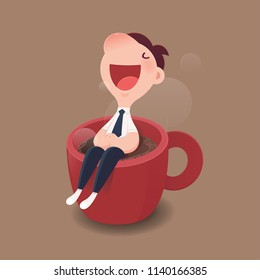 Cartoon character businessman sitting on a red cup of hot coffee. Good morning and Good day, Vector and Illustration.
