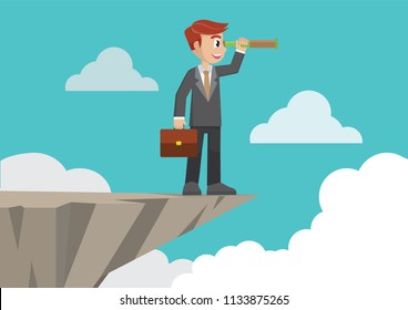 Cartoon character, Businessman stand on cliff edge mountain using telescope looking for success.,vector eps10