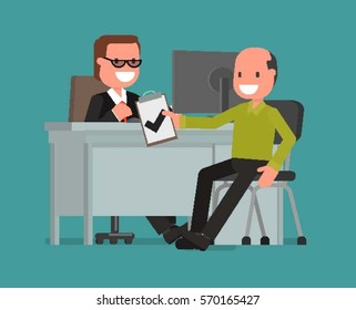 cartoon character. businessman talking to a customer, enters into a contract. Vector illustration of a flat design style