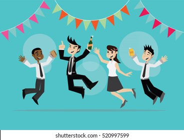 Cartoon character, Businessman And Woman Fun In Party., vector eps10