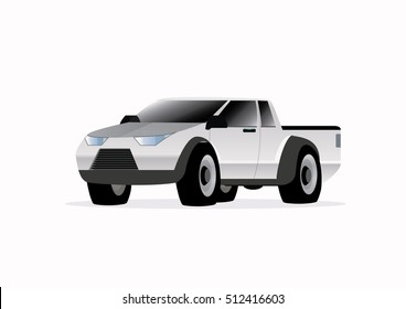 Cartoon character, Car pickup isolated., vector eps10