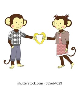 Cartoon character for card /school accessory/ T-shirt design, children's book illustration. One of a set: cute monkey - holidays the whole year. Valentine's day. Pair of boy and girl monkeys in love.