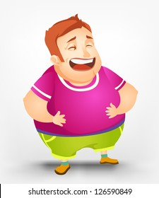 Cartoon Character Cheerful Chubby Men. Laughing. Vector Illustration. EPS 10.